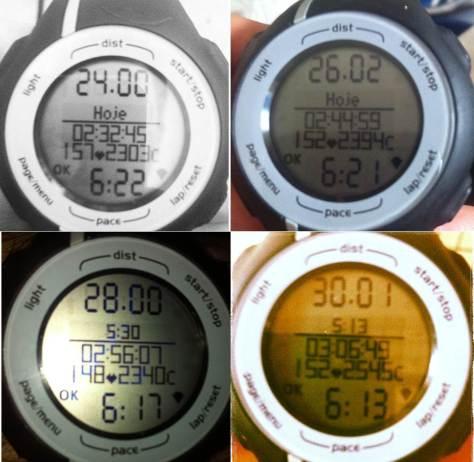 Tempos treino maratona Rio de Janiero