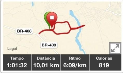 Percurso do treino Arena Pernambuco